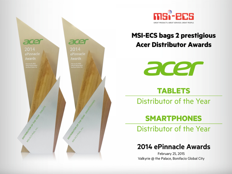 MSI-ECS twice awarded at Acer Distributor Awards