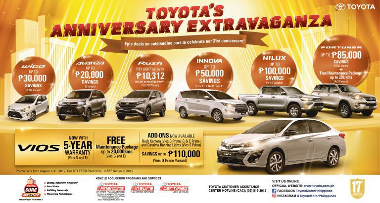 Toyota celebrates 31 years with Anniversary Extravaganza promo