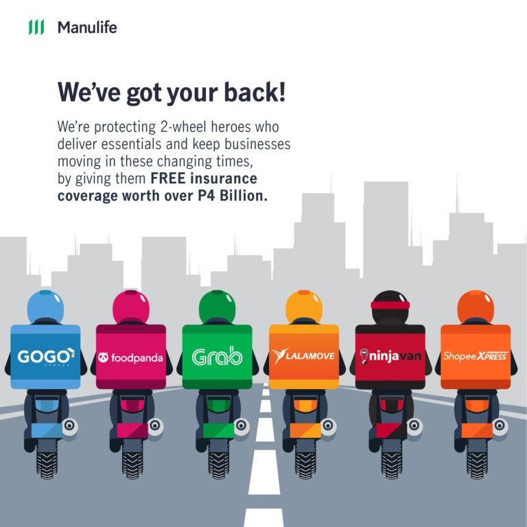 25,000 more delivery riders to receive free insurance coverage from Manulife PH amid pandemic