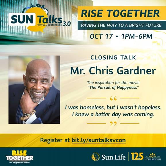 """Listen to Chris Gardner, the inspiration behind """"The Pursuit of Happyness,"""" at the Sun Life virtual conference on Oct 17"""