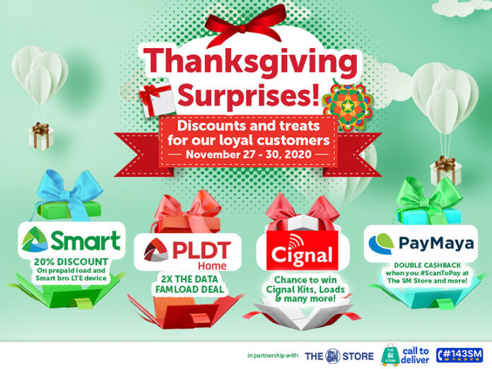 PLDT, Smart, Cignal, and PayMaya offer huge discounts at SM during Thanksgiving weekend