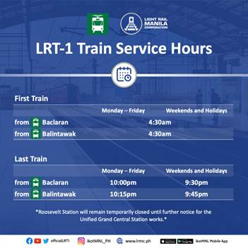 LRT-1 holiday operating schedule